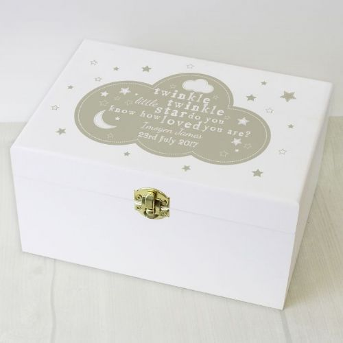Personalised Twinkle Twinkle White Keepsake Box